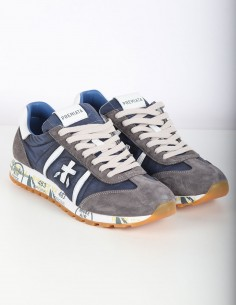"PREMIATA WHITE ""Lucy"" navy and grey sneakers"