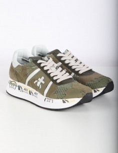 PREMIATA WHITE 'Conny' khaki sneakers