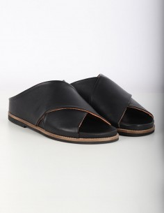 GANNI black leather sandals