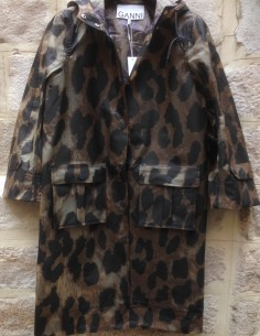 GANNI leopard print hooded raincoat