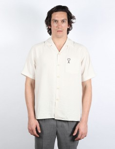 Beige straight short-sleeved shirt with logo AMI PARIS MEN