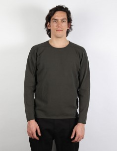 Khaki long sleeves tee with stitches details isabel benenato for men
