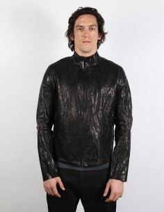 Black washed leather jacket with staples on back ISAAC SELLAM MEN
