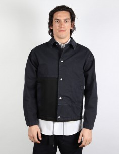 OAMC 'Cascade' straight two-tone navy jacket with press studs