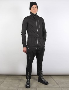 RICK OWENS black multi-zips jumpsuit for man