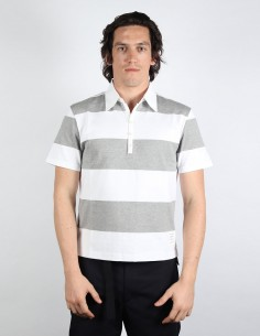 THOM BROWNE grey striped short-sleeved polo