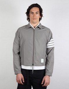 "THOM BROWNE grey sport ""coach jacket"" with stripes"