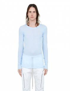 RICK OWENS Sky blue long-sleeved tee shirt with back stitches