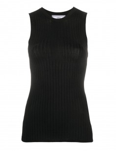Black ribbed stretched tank top AMI PARIS women