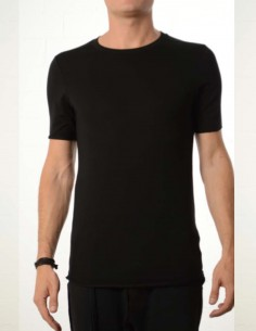 thom krom Slim fit long black tee shirt