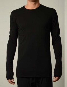 Black bi-material long sleeves tee thom krom
