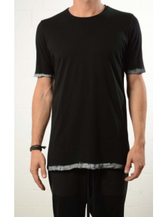 Black tee with white paint effect on sleeves thom krom