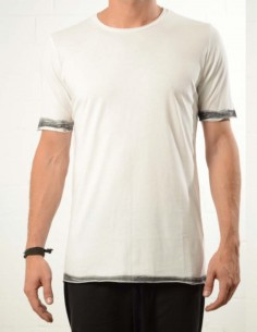 White tee with black paint effect on sleeves thom krom