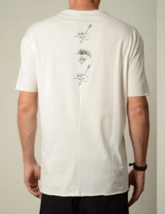White tee with white print on back thom krom