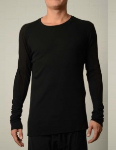 thom krom Bi-materials long sleeve black tee