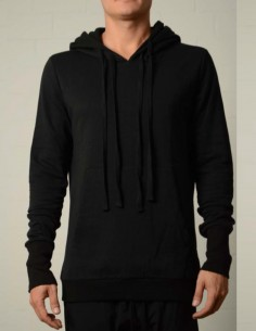 Black zipped sweat with double hood thom krom