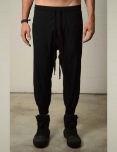 Black jogging pants in stretched nylon thom krom