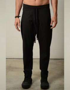 Black stretch jogging pants in bimaterials thom krom