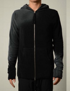 Zipped hoodie with washed effect in black and grey thom krom