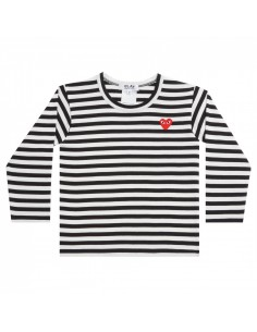CDG KIDS - black sailor long sleeves tee with red heart logo