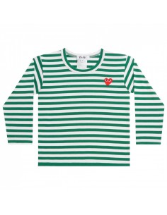CDG PLAY KIDS - green sailor tee with red heart