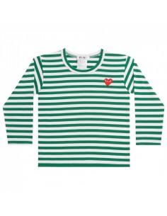 CDG PLAY KIDS - Marinière verte coeur rouge