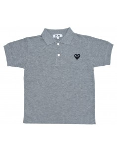CDG PLAY kids - Polo gris à patch logo coeur noir
