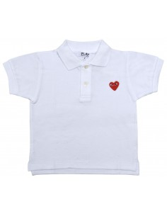 CDG PLAY KIDS - white polo with red heart logo