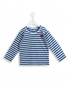 CDG PLAY KIDS - blue sailor tee with red heart