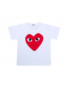CDG PLAY KIDS - white tee with big red heart