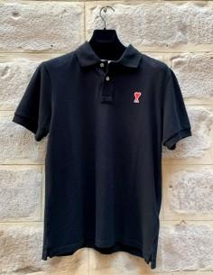 Black polo shirt with logo on chest ami paris men