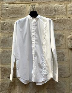 Chemise blanche légère à col mao isabel benenato homme