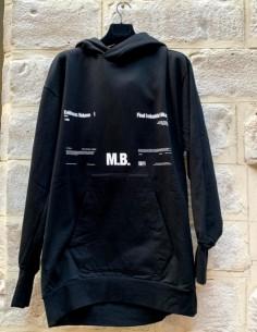 JULIUS Long black hoodie