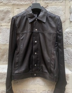 "rick owens ""Bahaus"" jacket with shirt-like sleeves in leather for men"