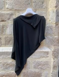 MM6 Asymmetrical draped top in black