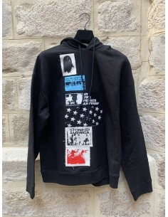 Sweat à capuche noir avec patches raf simons