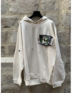 Oversized hoodie with patches and pins in beige raf simons