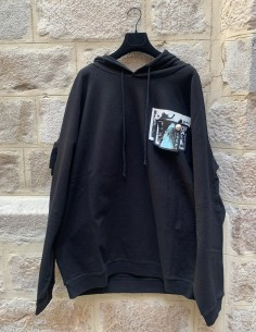 Oversized hoodie with patches and pins in black raf simons