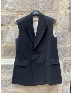 Sleeveless blazer jacket with raw edges in navy raf simons