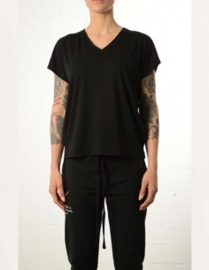 Black cropped oversized v-neck tee shirt thom krom women