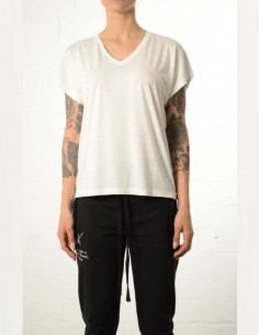 White cropped oversized v-neck tee shirt thom krom women
