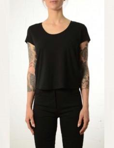 T-shirt noir court à col rond thom krom femme