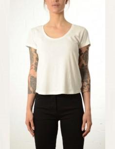 T-shirt blanc court à col rond thom krom femme