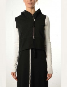Bicolor zipped hoodie in cotton thom krom women