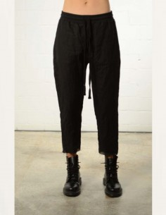Black cropped pants in linen thom krom women