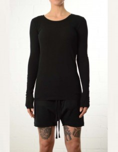 Black ribbed long sleeves tee shirt thom krom women