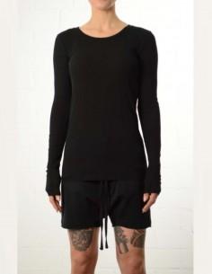 T-shirt noir ajusté à manches longues thom krom femme