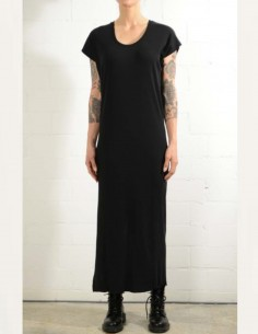 Longue robe t-shirt noire avec fente dos thom krom femme