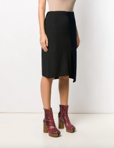 Flared-midi asymmetrical skirt in silk and velvet maison margiela women