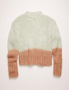 acne studios pull tricoté bicolore tye-and-die vert et rose